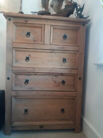 pine chest of drawes aztec style
