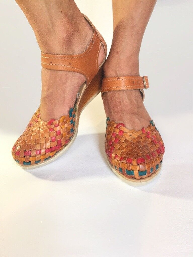 aff5cfe34212 Brown   Red Leather Platform Low Heels Wedges Sandals Women s Shoes Sandals  Authentic Mexican