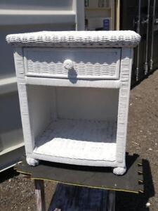 "Oakville 21""x18""x25""  WHITE BEDSIDE TABLE Wicker Rattan One only Girls Kids Womens Bedroom Side Cane Painted"