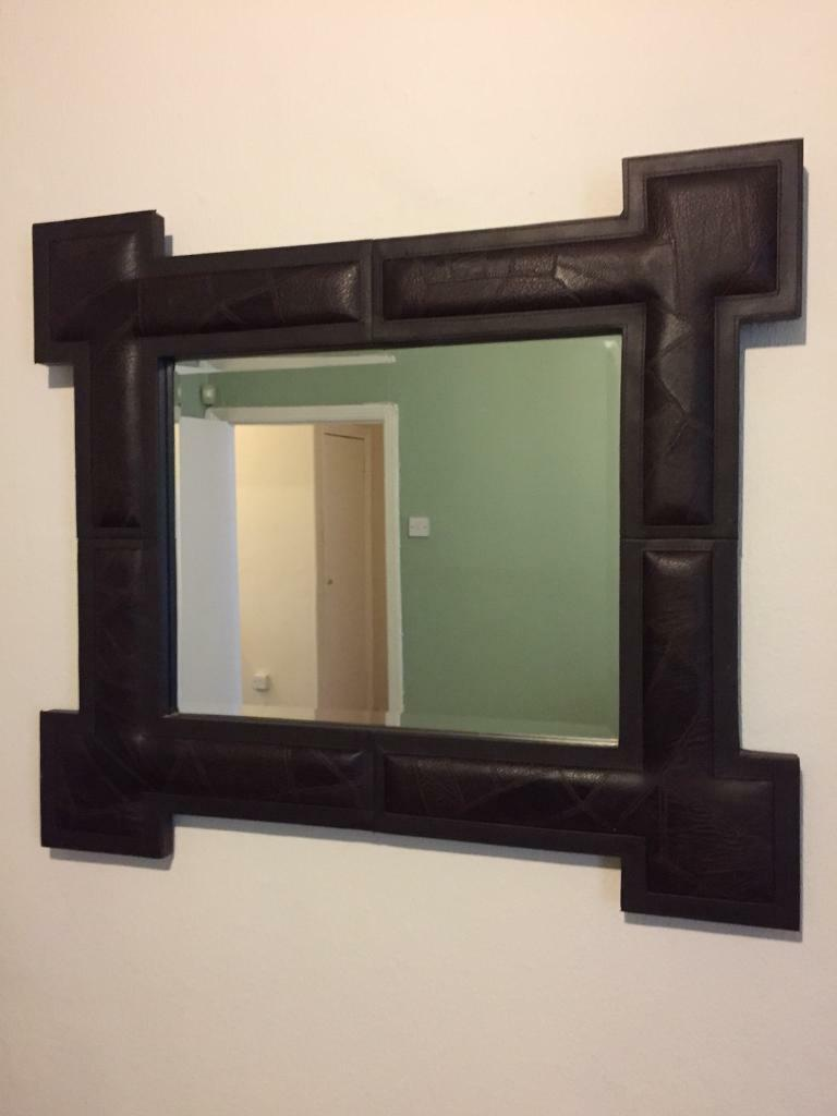 Large Wall Mirror Brown Leather