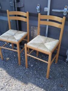 Oakville 2 wood and cane chairs dining kitchen side seating wicker seats rattan straw