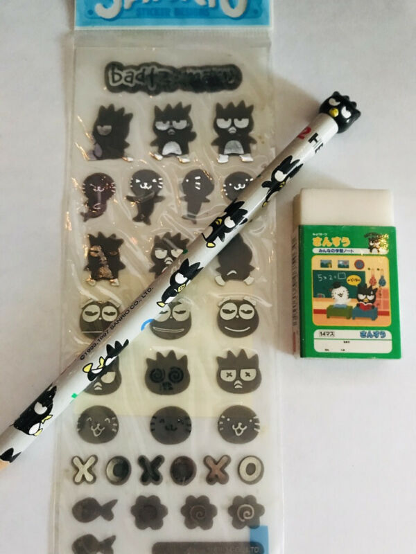 Vintage Sanrio Badtz Maru Pencil Sticker Eraser Collection 1999 2000 Japan