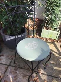 Pair of black heavy iron chairs shabby chic stencilled