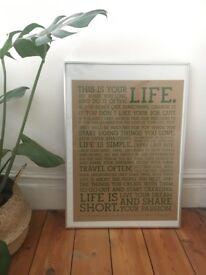 Framed Poster. Holstee manifesto. Scandinavian minimalist design