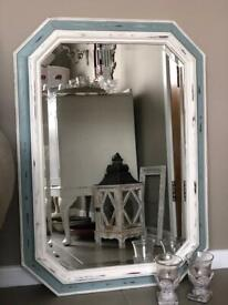 Hand-painted mirror in Duck egg blue and Original