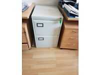 Two-draw grey metal filing cabinet suit both hanging files and box files