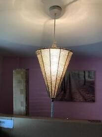 Silver bead light shade and lamp
