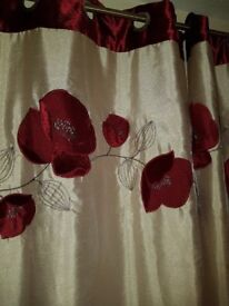EYELET CURTAIN PAIR-FAUX SILK CREAM & POPPY PATTERN