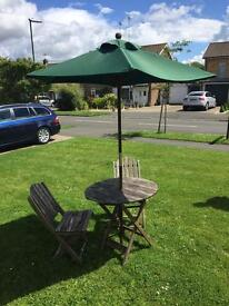Patio table and chair set with Parasol
