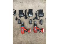 Black & Decker 2 x power drills, 3 x batteries & 3 x chargers