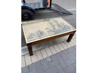 Mahogany Coffee Table with Glazed Galleon Picture Top