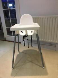 Ikea high chair with straps and tray