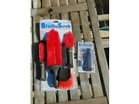 Motor bike cleaning brushes and digital air gauge