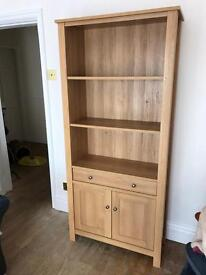 Next oak Stanton bookcase and side table
