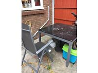 Garden / Patio furniture - glass table with 4 recline chairs