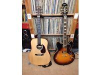 Guitars - Epiphone Sheraton, Martin DX1 acoustic - both cased