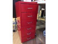 RED METAL SMALL RETRO 6 DRAWER FILING UNIT (A4)