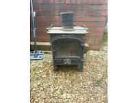 Oil burner cast iron fire for fireplace, warehouse, garage etc