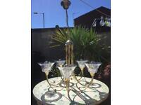 Italian 5 arm chandelier brass glass shades.