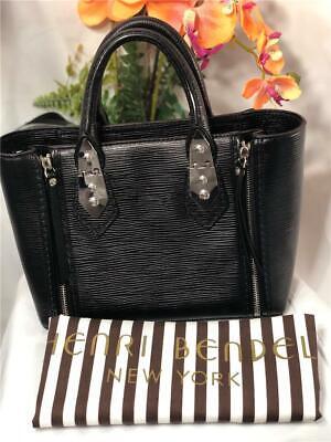 "Liked New~~HENRI BENDEL ""A-List"" Mini Black Embossed Leather Satchel Bag"