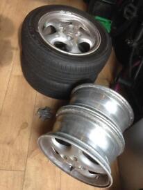MX5 original alloys wheels X4 (two with good tyres on)