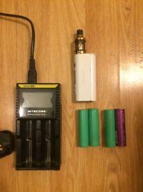 Vape starter kit + battery charger +4 batteries
