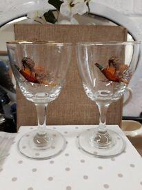 Pheasant glasses - large sherry juice