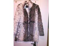 Cream/brown faux fur coat size 16