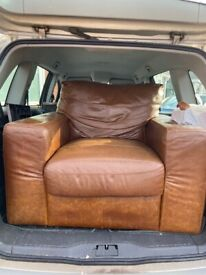 real tan leather arm chair for FREE