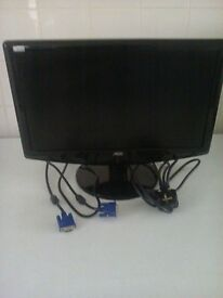 black N O C 19 inch L C D p c monitor power plug & V G A cable