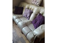 Cream leather sofa and 2 armchairs