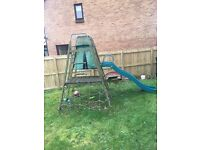 Outdoor climbing frame and chute