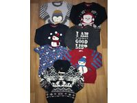 Bundle of boys Christmas jumpers/ tshirts snowsuit Size 12-18 months