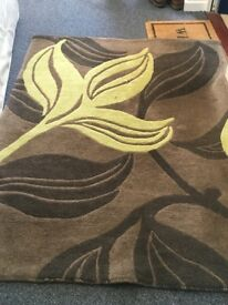 Rug for sale, brown and green flower pattern, Next brand