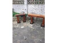Pair of solid sleeper garden benches