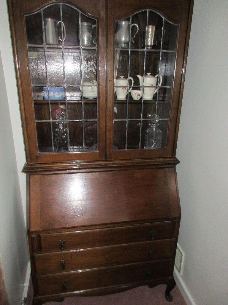Antique Oak Bureau With Leaded Glass Doors Excellent Condition
