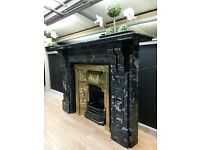 Large Antique Marble Fireplace-Surround