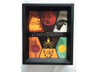 GAME OF THRONES - SIGILS OF HOUSES 3D A4 FRAME - High quality - includes 7 houses from the show/book