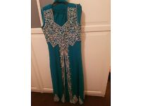 wedding dresss green and silver
