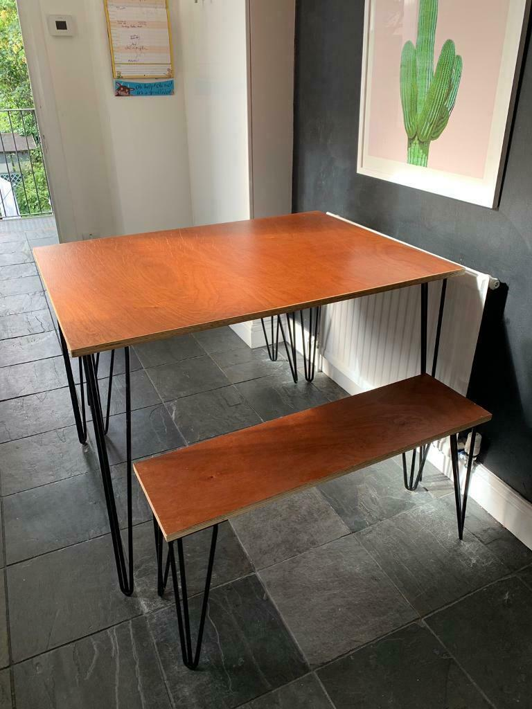 Sensational Small Solid Wood Kitchen Table And Two Benches With Hairpin Legs In Peckham London Gumtree Pdpeps Interior Chair Design Pdpepsorg