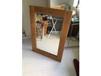 Large contemporary rustic pine mirror