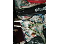 2 squash rackets and balls