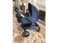 PRELOVED ICANDY PEACH 3 LIMITED EDITION IN MIDNIGHT GREAT LOOKING PRAM INCLUDES CARRYCOT & SEAT UNIT