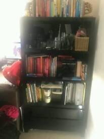 Gloss black book shelf