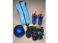 SFR Retro Roller Boots with carry bag, helmet & complete set of safety pads - UK 4