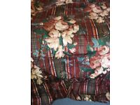 3 large pairs of lined curtains and bedspread, maroon floral Ametex pattern