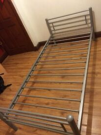 Silver metal single bed with trundle guest bed