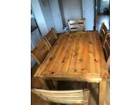 Antique Pine Dining Table & 6x chairs