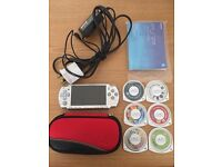 Sony PSP 2004 Slim & Lite Silver Console Bundle Includes 6 x Games, Case & Charger