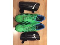 Football shoes and shin pads for sale 10£